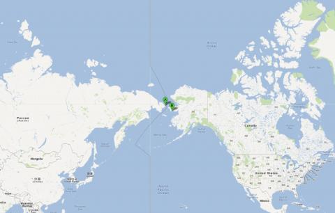 spoorlijn, kaart, Uelen, Nome, VS, Rusland
