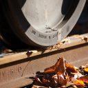 herfst, spoor, rails