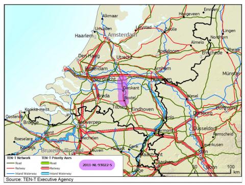Goederencorridor Meteren-Boxtel, bron: TEN-T Executive Agency