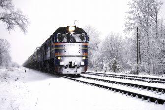 Goederentrein, sneeuw, Rusland