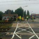 Botsing tussen trein en bulldozer, Maastricht, foto: @groningenhc