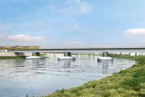 Spoorbrug over de Waal bij Nijmegen