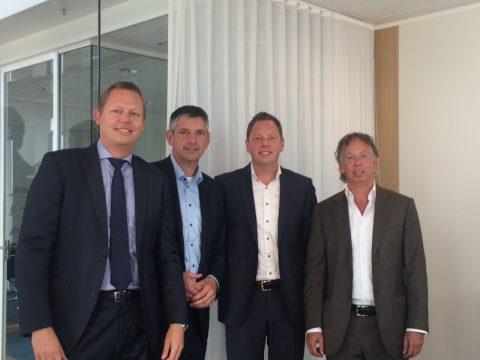 V.l.n.r. Arian Mortier, Dick Burger, Dennis Mortier en Peter Roosjen