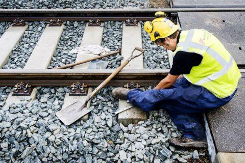 Baanwerker, werkzaamheden, spoor, rails
