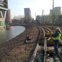 Werkzaamheden, rails, Rotterdam, installatie, Polycorp