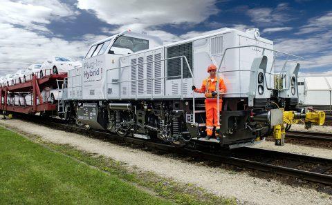 Hybride locomotief bij Audifabriek in Ingolstadt, Duitsland