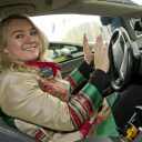 Minister Melanie Schultz van Haegen in zelfrijdende auto