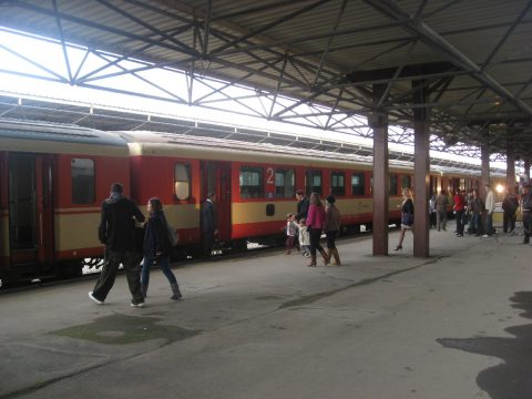 Een treinstation in Macedonië