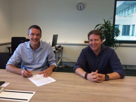 Marc Maathuis, directeur Strukton Rail Nederland en Gerben Gooijers, oprichter Semiotic Labs