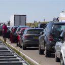 Een file op de Afsluitdijk, foto: ANP