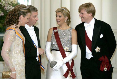 Koningin Mathilda, Koning Philip, Koningin Maxima en Koning Willem-Alexander, foto: ANP