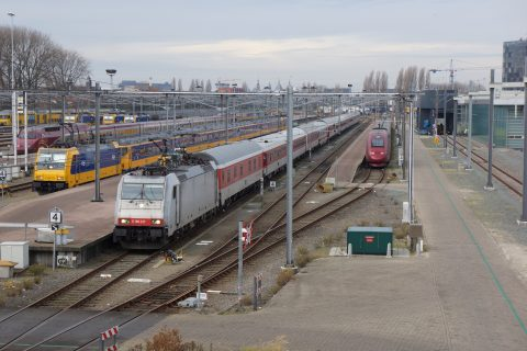 Slaaptrein op station Amsterdam Centraal, foto: NS
