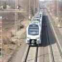Een Abellio passagierstrein in Oberhausen, Duitsland