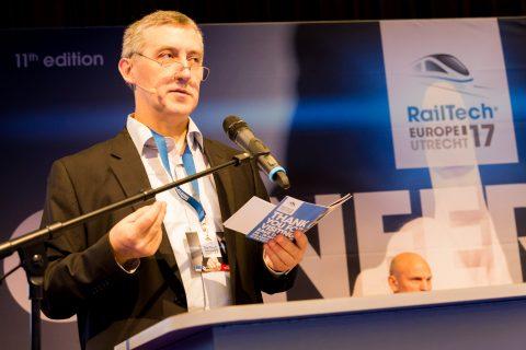 Marc Antoni van het UIC tijdens RailTech Europe 2017
