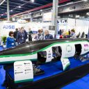 Hyperloop pod op RailTech Europe 2017 in de Jaarbeurs in Utrecht