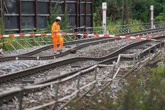 Het verzakte spoor in Duitsland, foto: Benedikt Spether