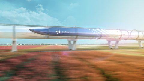 Een visualisatie van een hyperloop systeem, bron: Hardt Global Mobility