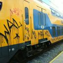 NS-trein beklad met grafitti, foto: NS