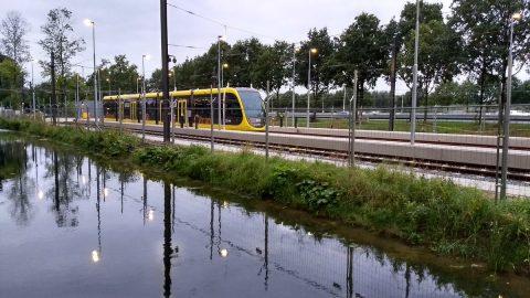 Een tram van de Uithoflijn wordt getest, Twitter @pvermeu2