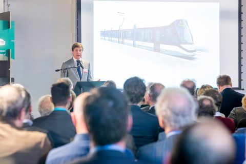 Wethouder Verkeer en Vervoer Amsterdam Pieter Litjens tijdens de Dag van de Light Rail 2018. Foto: Railforum.