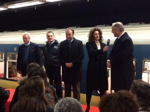 Opening expositie vijftig jaar metro Rotterdam burgemeester Aboutaleb RET directeur Maurice Unck