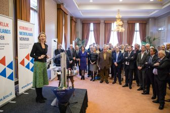 Staatssecretaris Stientje van Veldhoven tijdens de nieuwjaarsreceptie van KNV