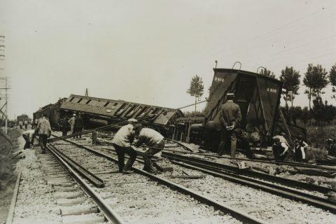 Ongeluk met reizigerstrein op 7 juni 1917. Foto: Collectie Spoorwegmuseum, Utrecht