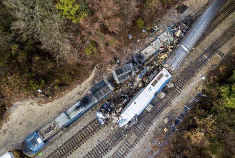 Treinbotsing tussen een Amtrak-passagierstrein en een goederentrein van CSX in Cayce, foto: Hollandse Hoogte