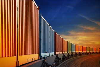 Een containertrein, bron: Getty Images / Istockphoto