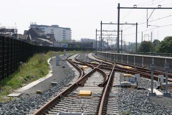 Een spoorwegwissel van de Hoekse Lijn in Vlaardingen