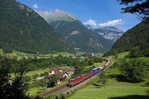Goederentrein in Zwitserland