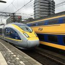 Een Eurostar-hogesnelheidstrein en een intercitytrein van NS, foto: Ton Boon/NS