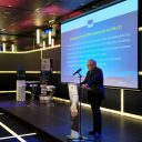 ERTMS-coordinator Matthias Ruete van de Europese Commissie geeft een presentatie op RailTech Europe 2019