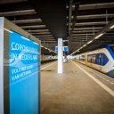 Een leeg perron op station Den Haag Centraal tijdens de coronacrisis, foto: ANP