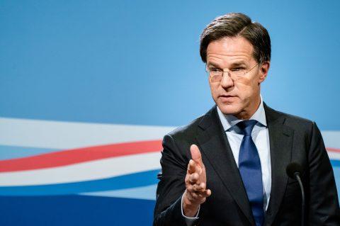 Premier Mark Rutte tijdens persconferentie na afloop van de wekelijkse ministerraad, foto: ANP