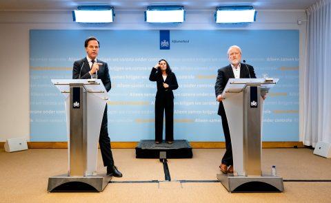 Premier Rutte tijdens een persconferentie over de coronacrisis, foto: ANP