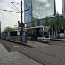 Een tram van de RET in Rotterdam