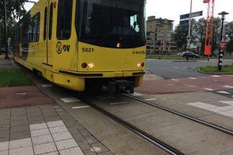 Een tram van U-OV in Utrecht