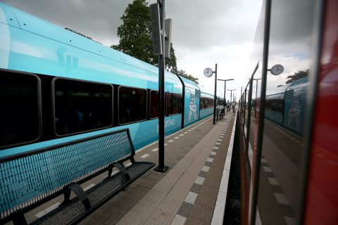 De eerste rit met een vernieuwd treinstel van Arriva, van Leeuwarden naar Harlingen Haven, foto: ANP