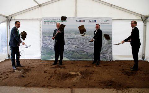 Het startsein voor de bouw van het waterstoftankstation voor passagierstreinen in Hessen, Infraserv Höchst, 2020