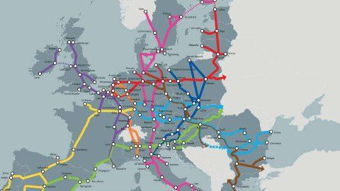 Kaart van het Europese TEN-T netwerk