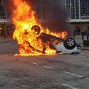 Een voertuig van ProRail incidentenbestrijding staat in brand voor Centraal Station Eindhoven, foto: ANP