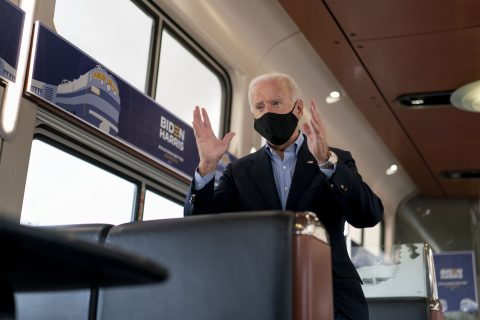 Joe Biden maakte tijdens de presidentsverkiezingen een tour in een Amtrak-trein, foto: ANP