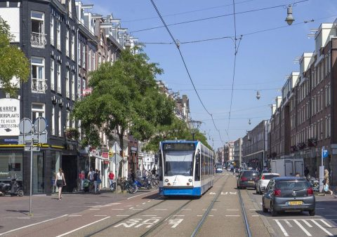 Tramlijn 7 in de Kinkerstraat in Amsterdam, foto: Tim Boric/Rover