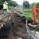 De schade aan de spoorinfrastructuur in Wallonië, foto: Infrabel