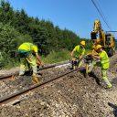 Infrabel herstel aan het spoor van lijn 162 tussen Rochefort Jemelle en Poix Saint-Hubert, foto: Infrabel