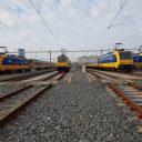 Traxx-locomotieven op emplacement Binckhorst in Den Haag, foto: NS