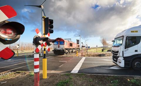 Een spoorwegovergang in België, foto: Infrabel