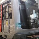 Vooraanzicht M7-metro tijdens de bouw in de fabriek van CAF