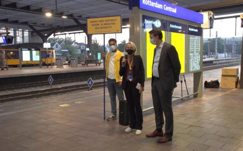 Marjan Rintel en John Voppen bij tienminutentrein Rotterdam